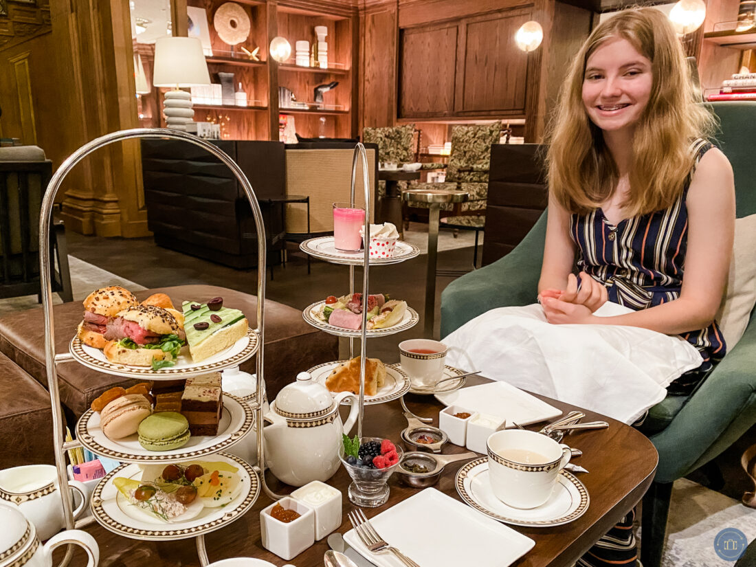 kid with food allergies at fairmont afternoon tea with special allergy friendly food tower