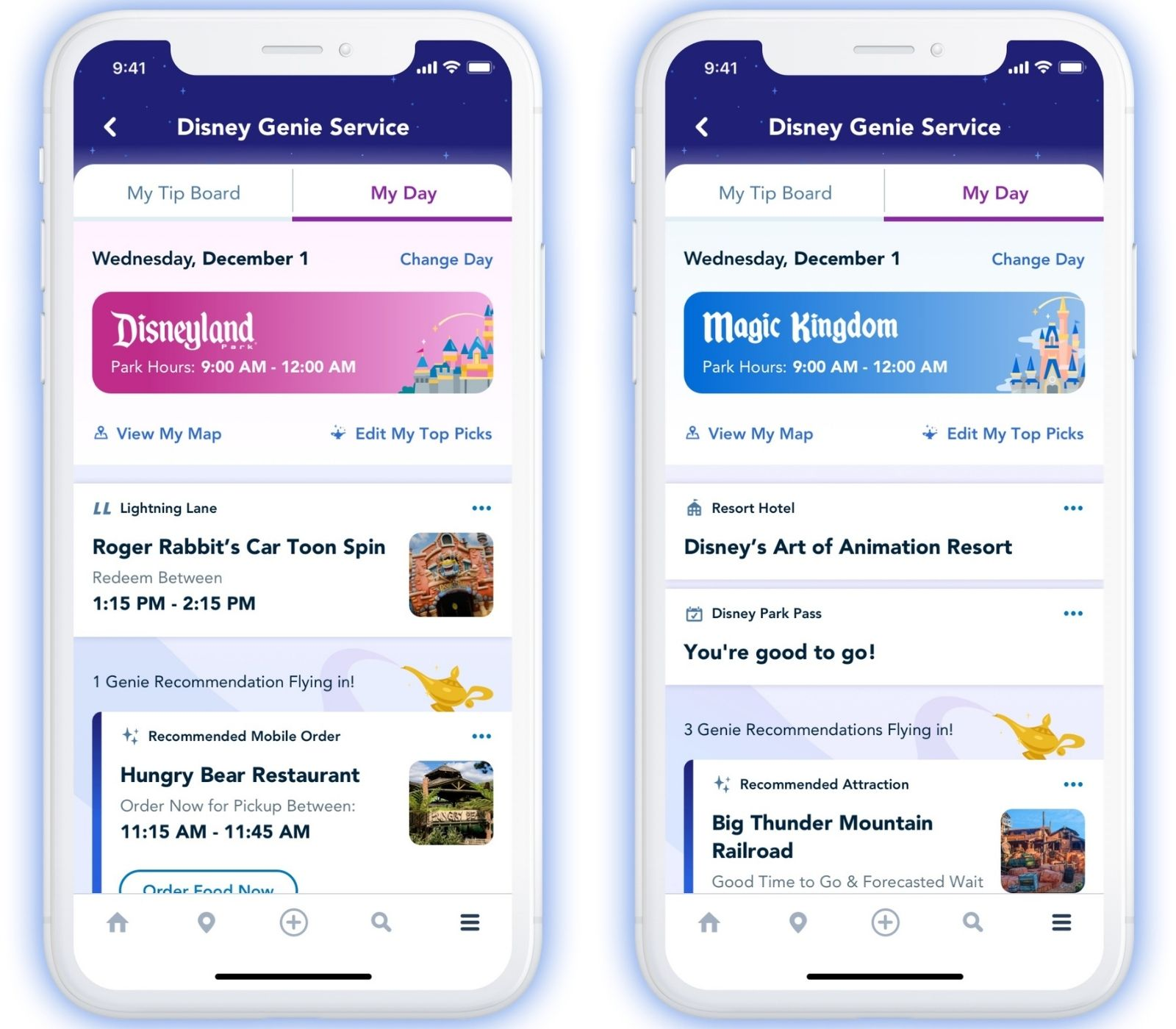Disney Genie screenshots for disneyland and disney world daily plans