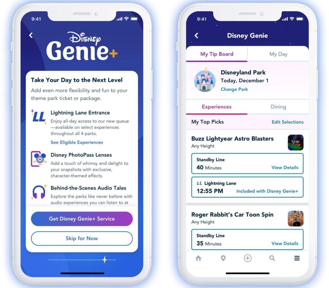 Disney Genie+ screenshot of paid service for Disney parks