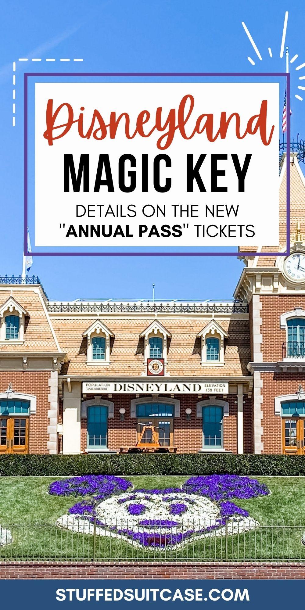 disneyland magic key new annual pass text overlay box on photo of disneyland entrance