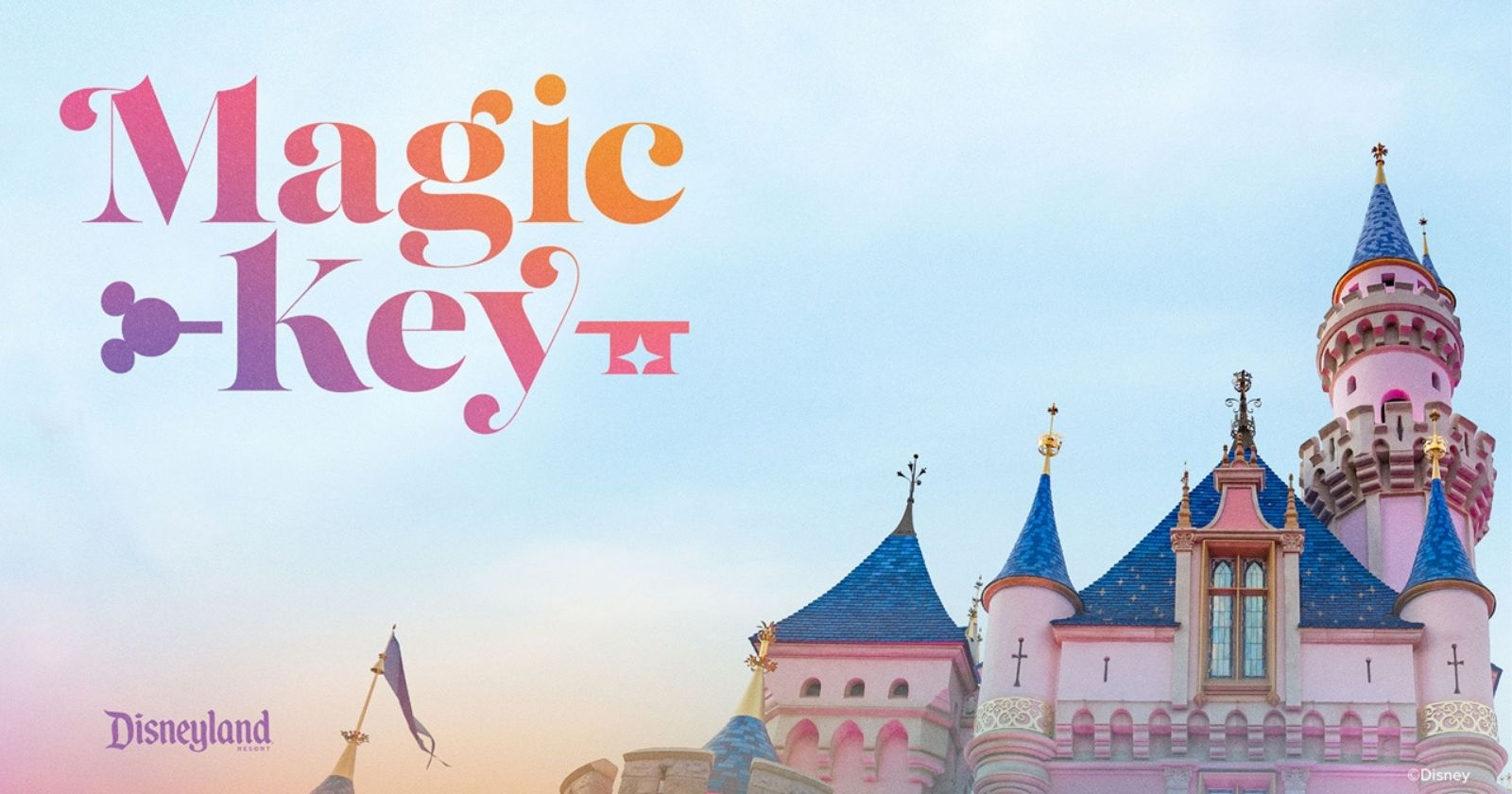 magic key text in sky over top of disneyland castle