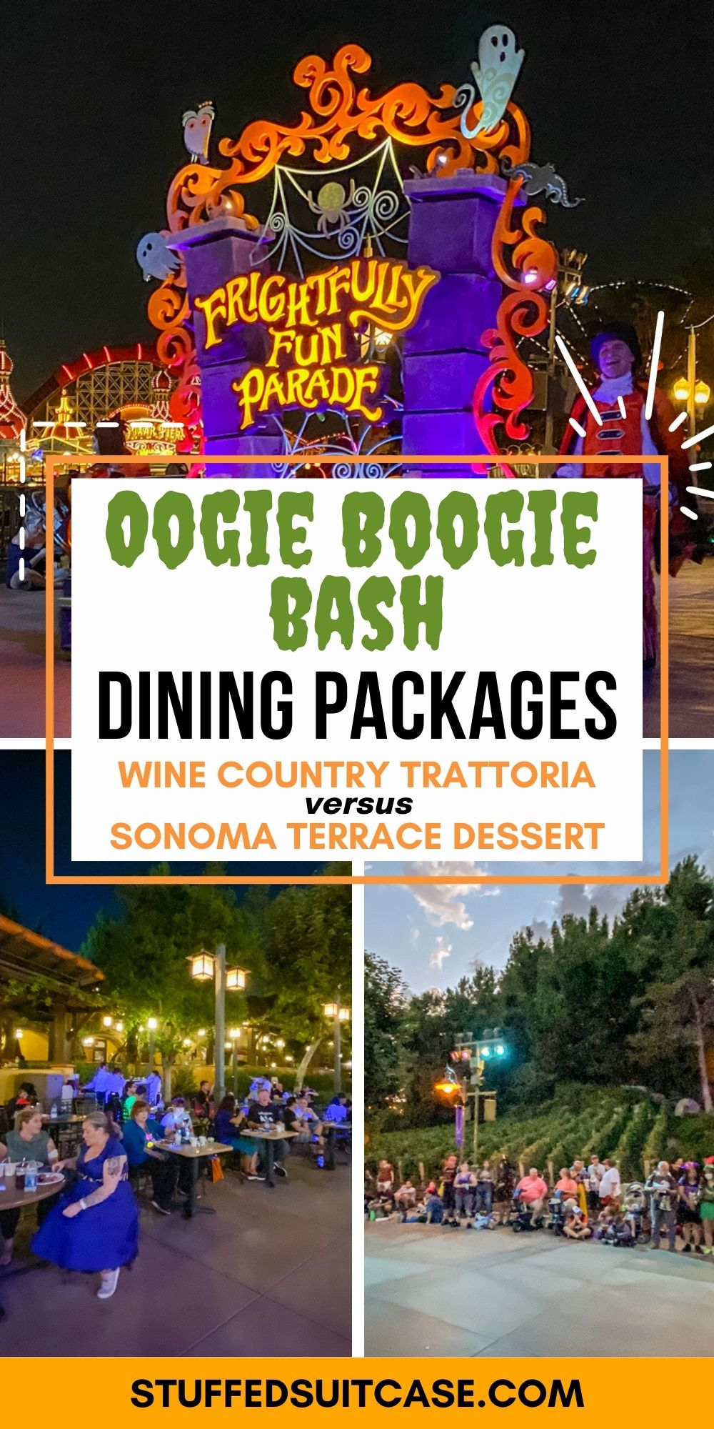 oogie boogie bash parade dining packages seating area and parade float collage with text