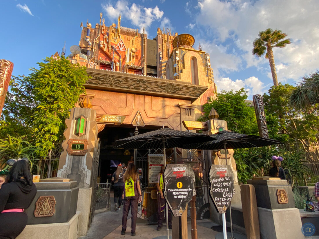 guardians of the galaxy ride at disneyland with monsters after dark signs in front of entrance