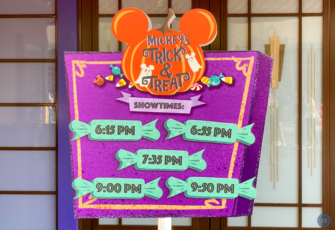 sign with showtimes for mickey's trick and treat show