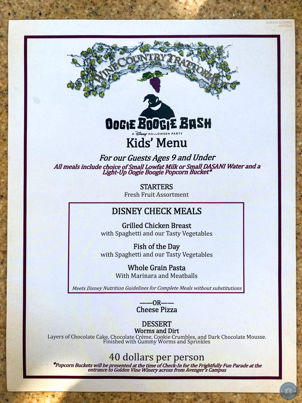 oogie boogie bash parade wine country trattoria dining package kids menu