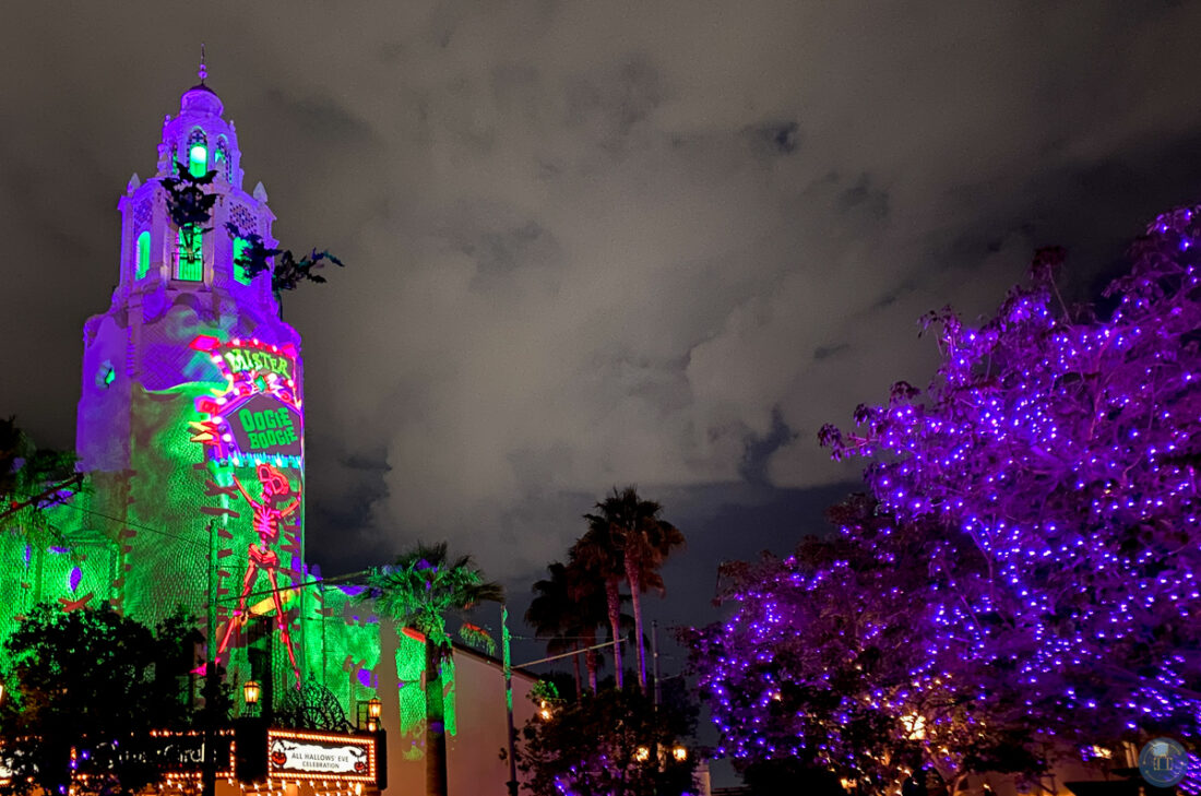 projections on carthay circle in disney california adventure during oogie boogie bash