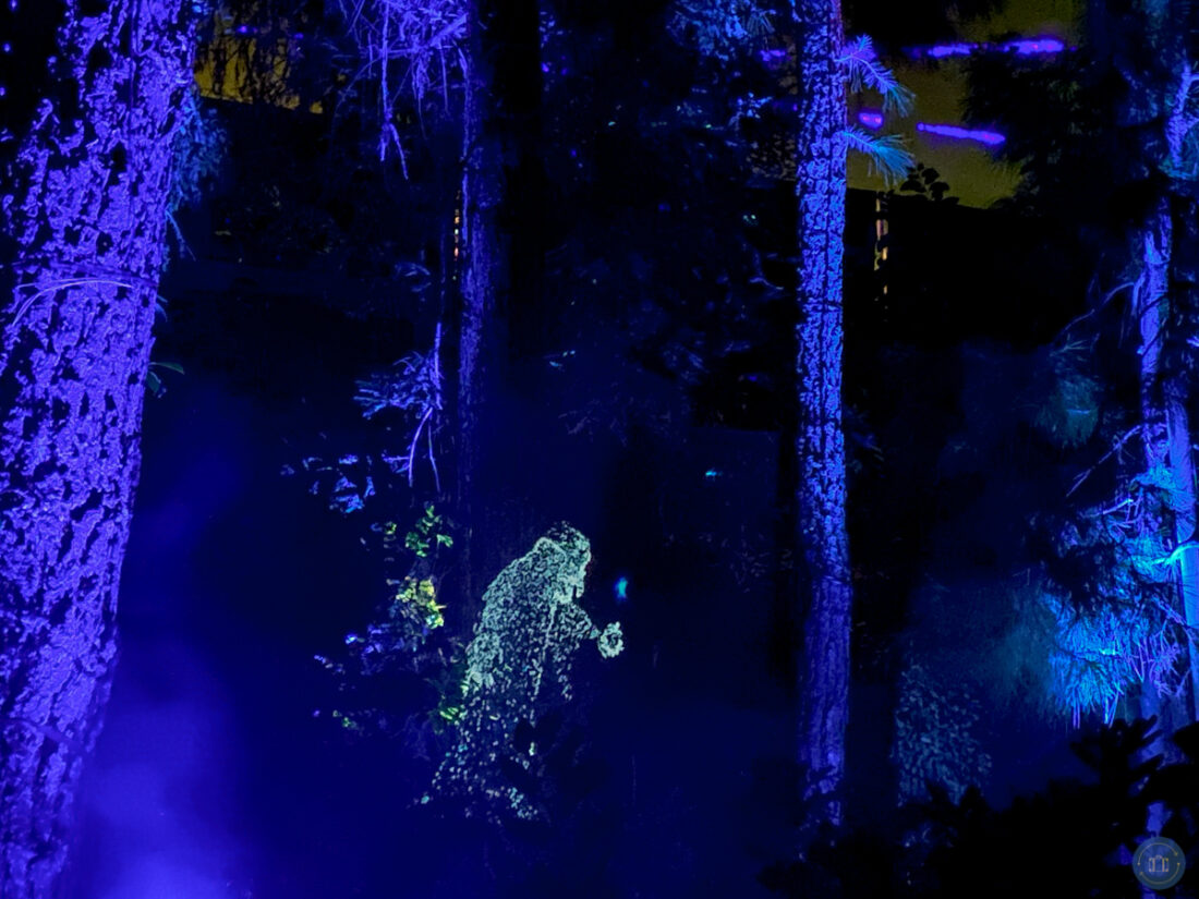 disney villain light projection in the woods at villains grove oogie boogie halloween party disneyland